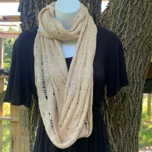 Charlotte Russe Infinity Scarf Knit Cream Sequined